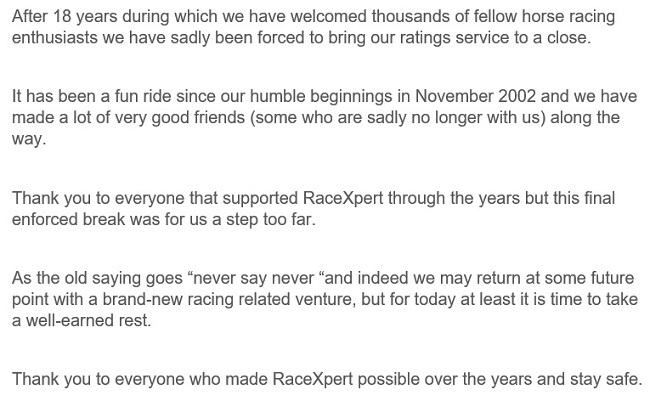 RaceXpert Horse Racing Ratings